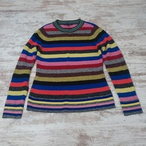 INC Colorful Striped Sparkly Knit Cozy Sweater Top